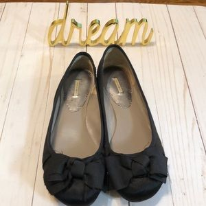 Black Satin Ballet Flats with Bow Accent